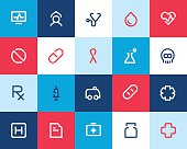 Medical and healthcare icons. Flat