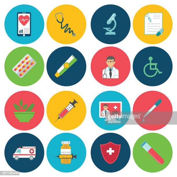 medical and healthcare icons in flat design style on circle backgrounds - blood test stock illustrations, clip art, cartoons, & icons