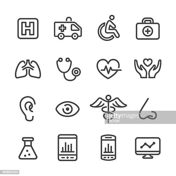 ilustraciones, imágenes clip art, dibujos animados e iconos de stock de medical and healthcare icons - line series - narizhumano
