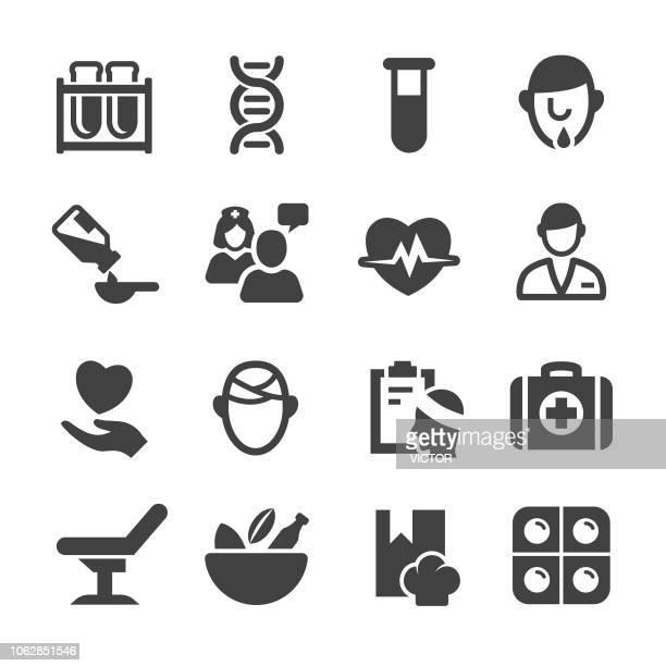 ilustraciones, imágenes clip art, dibujos animados e iconos de stock de set de iconos médicos y salud - serie acme - trabajador sanitario