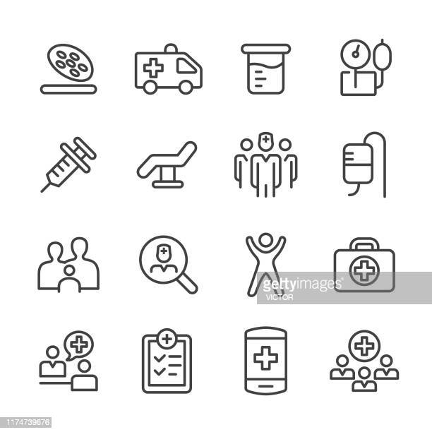 medical and healthcare icons set - line series - medical exam stock illustrations