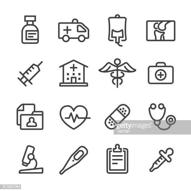 medical and healthcare icons set - line series - injecting stock illustrations