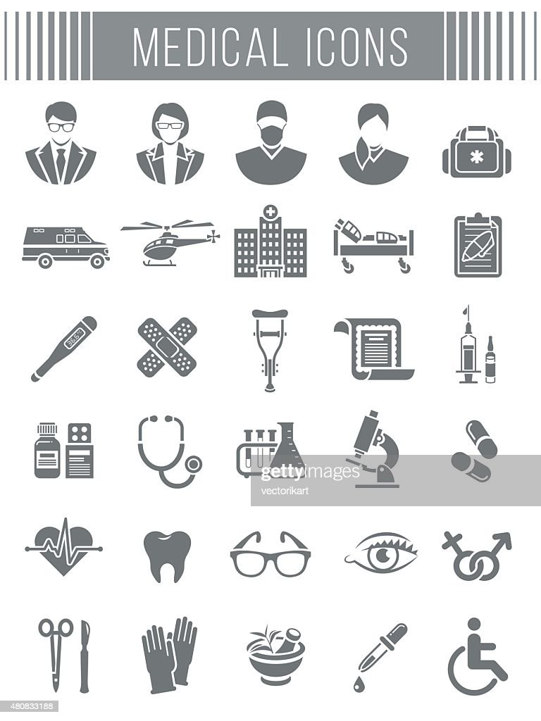 Medical and healthcare icons silhouettes