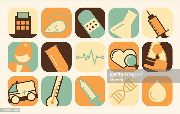 ilustraciones, imágenes clip art, dibujos animados e iconos de stock de iconos médicos y cuidado de la salud - enfermera