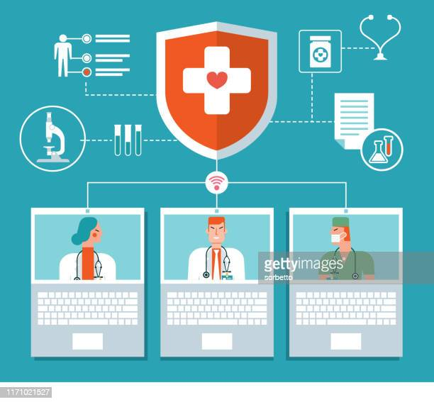 medical and healthcare infographic - laptop - shielding stock illustrations