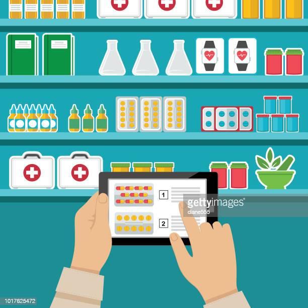 illustrazioni stock, clip art, cartoni animati e icone di tendenza di infografica medica e sanitaria - farmacia