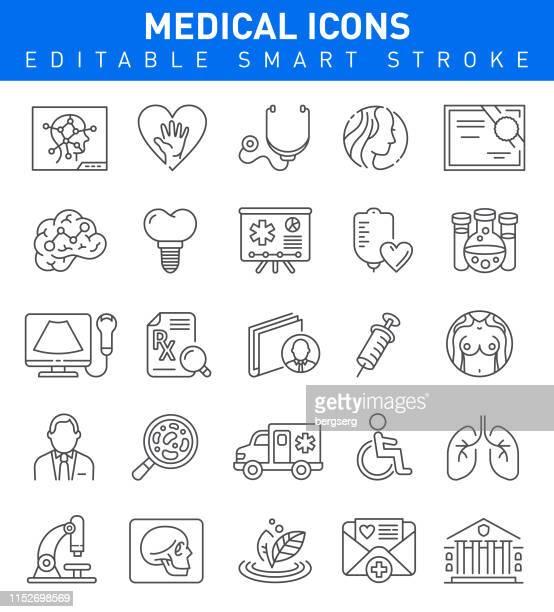 illustrations, cliparts, dessins animés et icônes de icônes de ligne médicale et de soins de santé. collection de traits modifiables - prothèse auditive