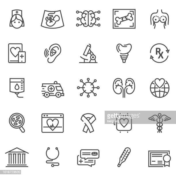 medical and healthcare line icons - hearing aid stock illustrations, clip art, cartoons, & icons