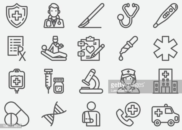 medical and healthcare line icons - injecting stock illustrations