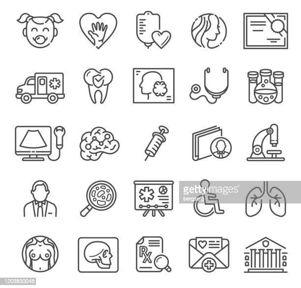 illustrations, cliparts, dessins animés et icônes de icônes de ligne médicale et de soins de santé avec des symboles diagnostiques, dentaires, de virus et d'ambulance - prothèse auditive
