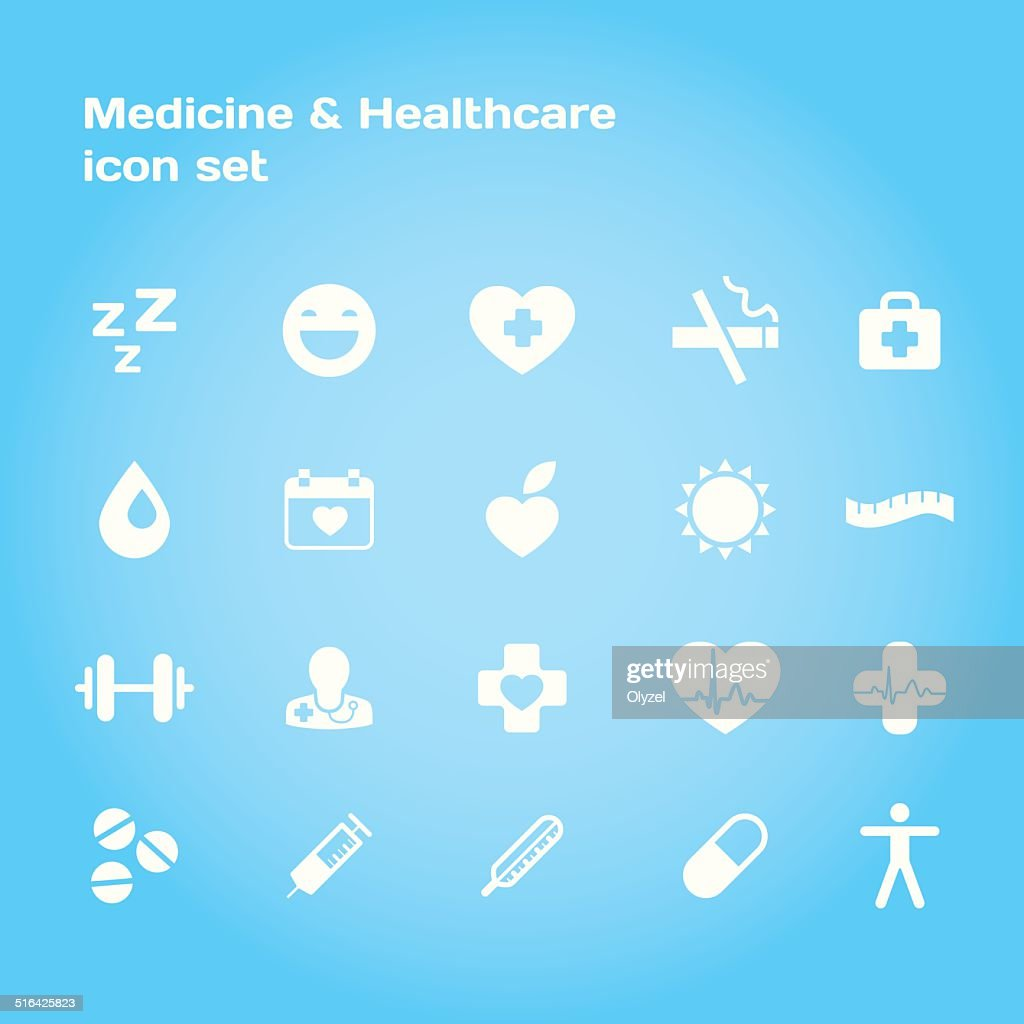 Medical and healthcare stylish icon set.