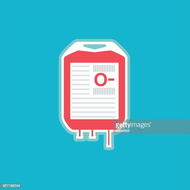 medical and healthcare transfusion icon in flat design style - blood bag stock illustrations, clip art, cartoons, & icons