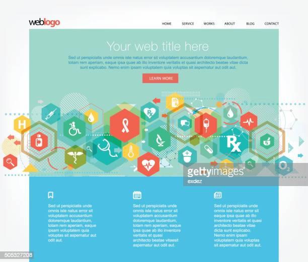 医療とヘルスケアの web テンプレート - ホームページ点のイラスト素材/クリップアート素材/マンガ素材/アイコン素材