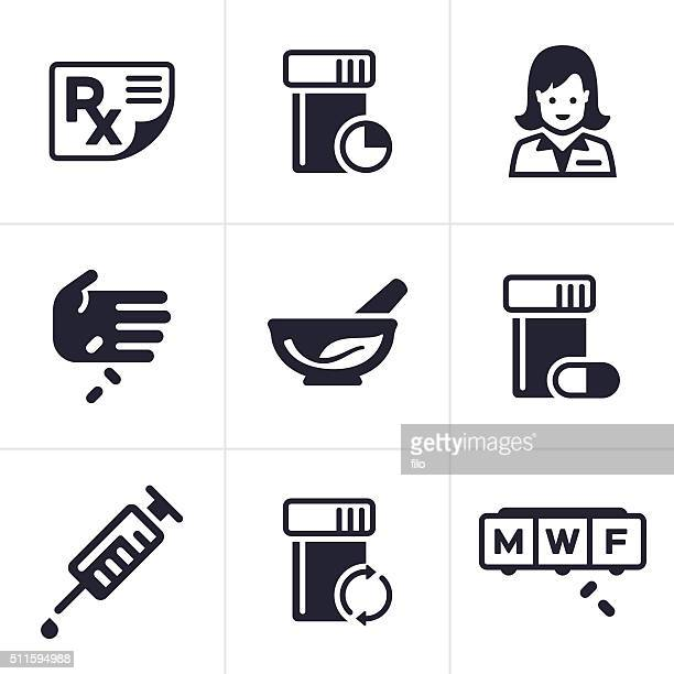 medical and pharmacy icons and symbols - mortar and pestle stock illustrations, clip art, cartoons, & icons