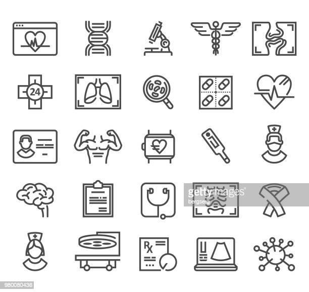 illustrations, cliparts, dessins animés et icônes de médecine et chirurgie ligne icônes. set vector - prothèse auditive