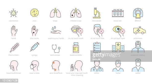medical and virus icons - severe acute respiratory syndrome stock illustrations