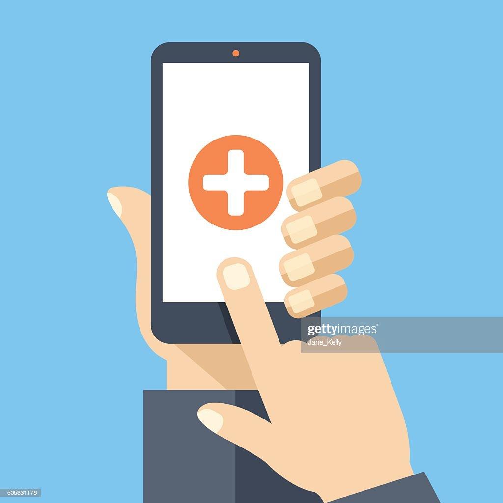 Medical app on smartphone screen. Flat design vector illustration