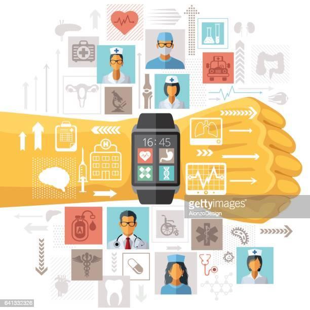 medical app - smart watch stock illustrations