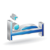 Medical Bed 3d Glossy Vector Icon Design
