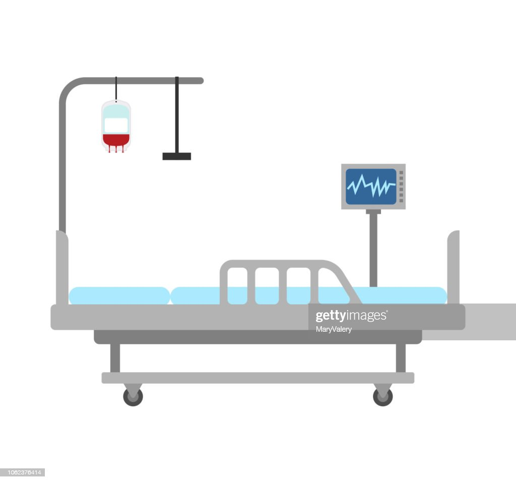 Medical bed isolated. hospital bed clinic. patient bedstead