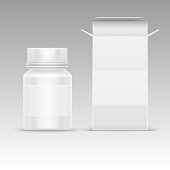 Medical blank packaging paper box and medicine plastic bottle for