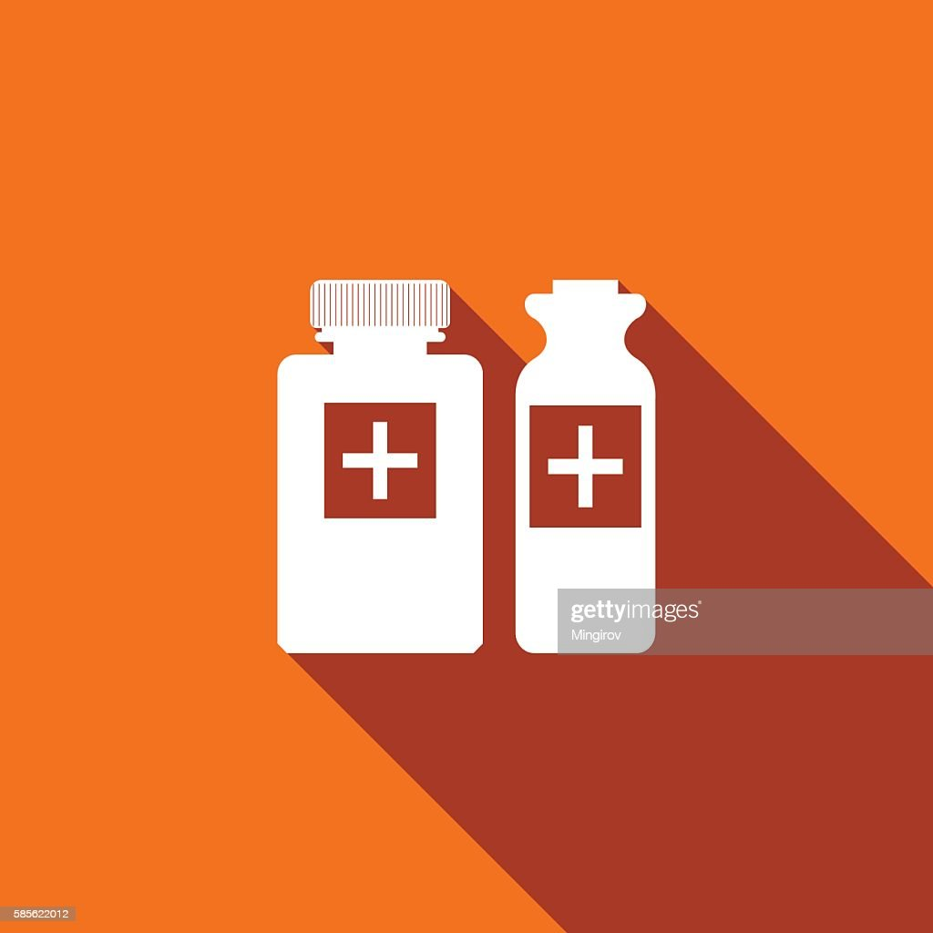 Medical bottles icon with long shadow.