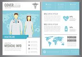 Medical Brochure Design Template. Healthcare and Medical concept. Flyer with medicine icons. Vector