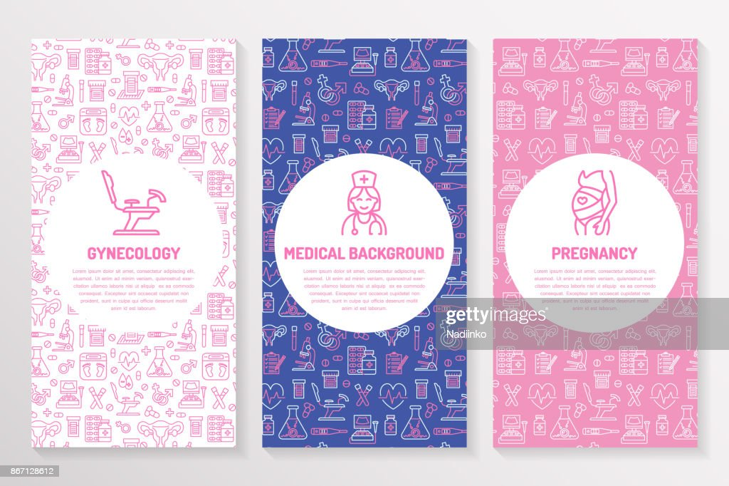 Medical brochure template, gynecology flyer. Vector trifold pink purple background. Obstetrics, pregnancy elements thin line icons - doctor, research, in vitro fertilization. Cute medicine poster
