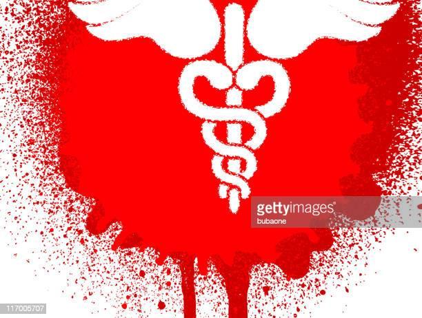 医療ヘルメスの杖をスプレーペイント血液染み - 血しぶき点のイラスト素材/クリップアート素材/マンガ素材/アイコン素材