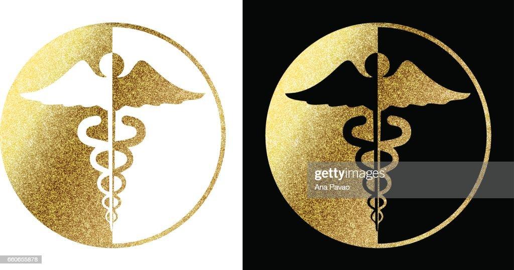 medical caduceus symbol in golden