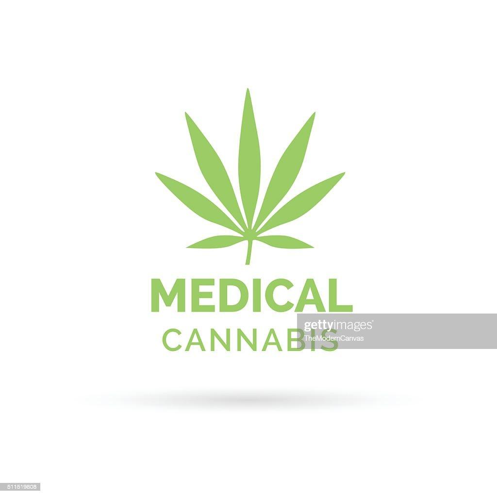 Medical Cannabis icon design with Marijuana hemp leaf symbol