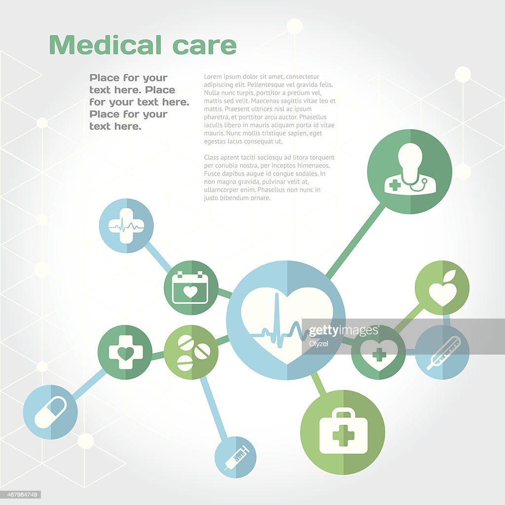 Medical care background with flat icon set