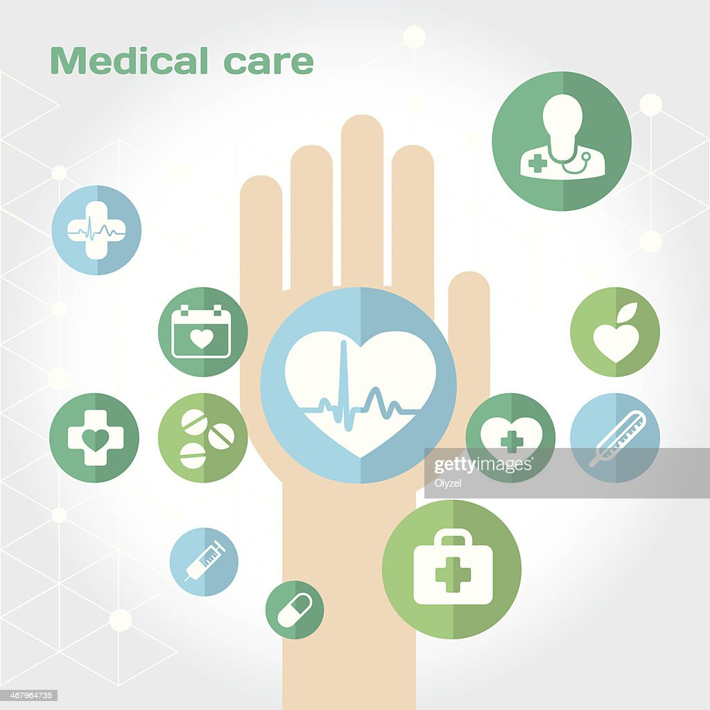 Medical care flat icon composition with hand