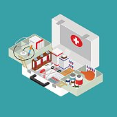 Medical Case with Equipment Isometric View. Vector