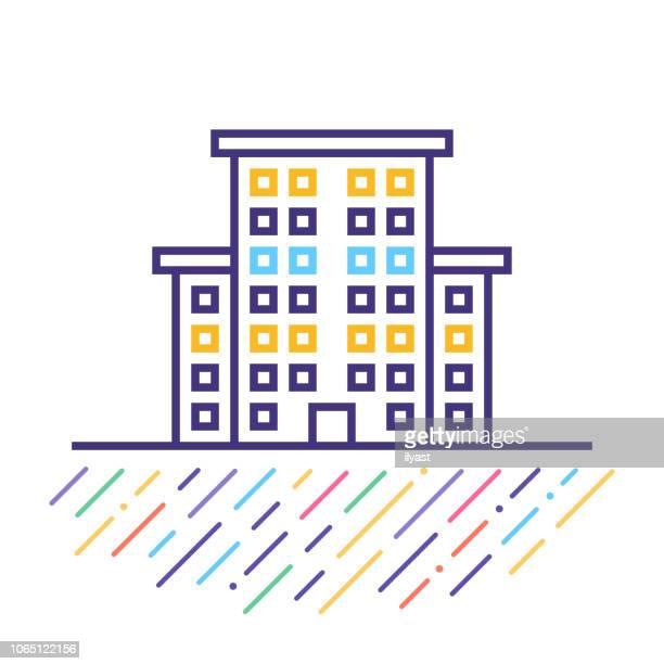 illustrations, cliparts, dessins animés et icônes de medical center building ligne icône illustration - hopital batiment
