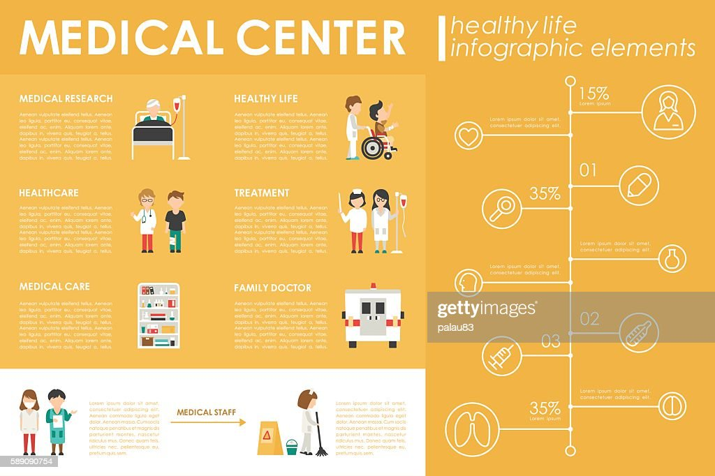 Medical Center concept Hospital infographic flat web vector illustration. Patient