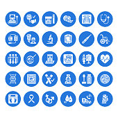 Medical check up, flat glyph icons. Health diagnostics equipment - mri, tomography, glucometer, stethoscope, blood pressure x-ray, blood test. Hospital signs. Solid silhouette pixel perfect 64x64