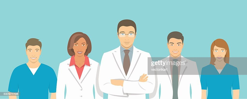 Medical clinic doctors team vector flat illustration
