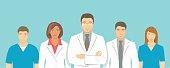 Medical clinic doctors team vector flat illustration