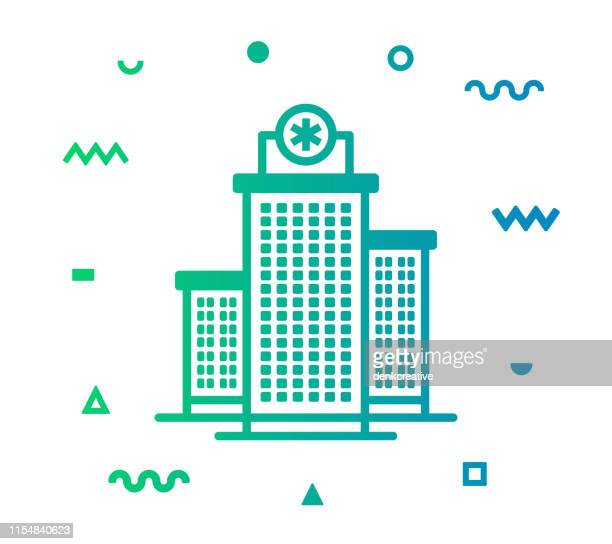 medical clinic line style icon design - center athlete stock illustrations