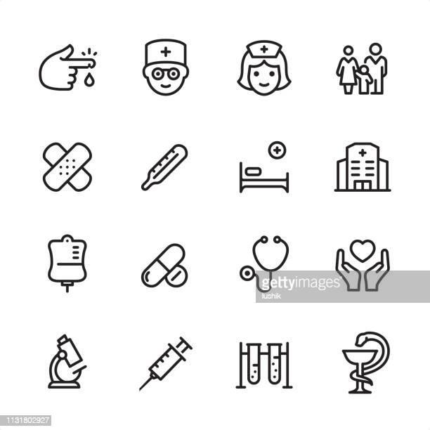 ilustraciones, imágenes clip art, dibujos animados e iconos de stock de clínica médica-conjunto de iconos de esquema - reptil