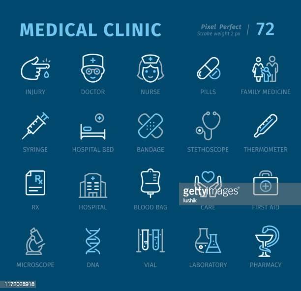 illustrazioni stock, clip art, cartoni animati e icone di tendenza di clinica medica - icone di struttura con didascalie - farmacia