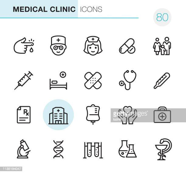 medical clinic - pixel perfect icons - medical exam stock illustrations