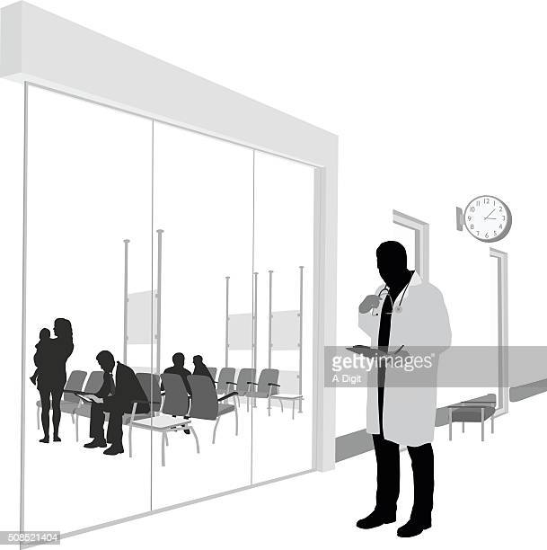 medical clinic specialist - corridor stock illustrations, clip art, cartoons, & icons