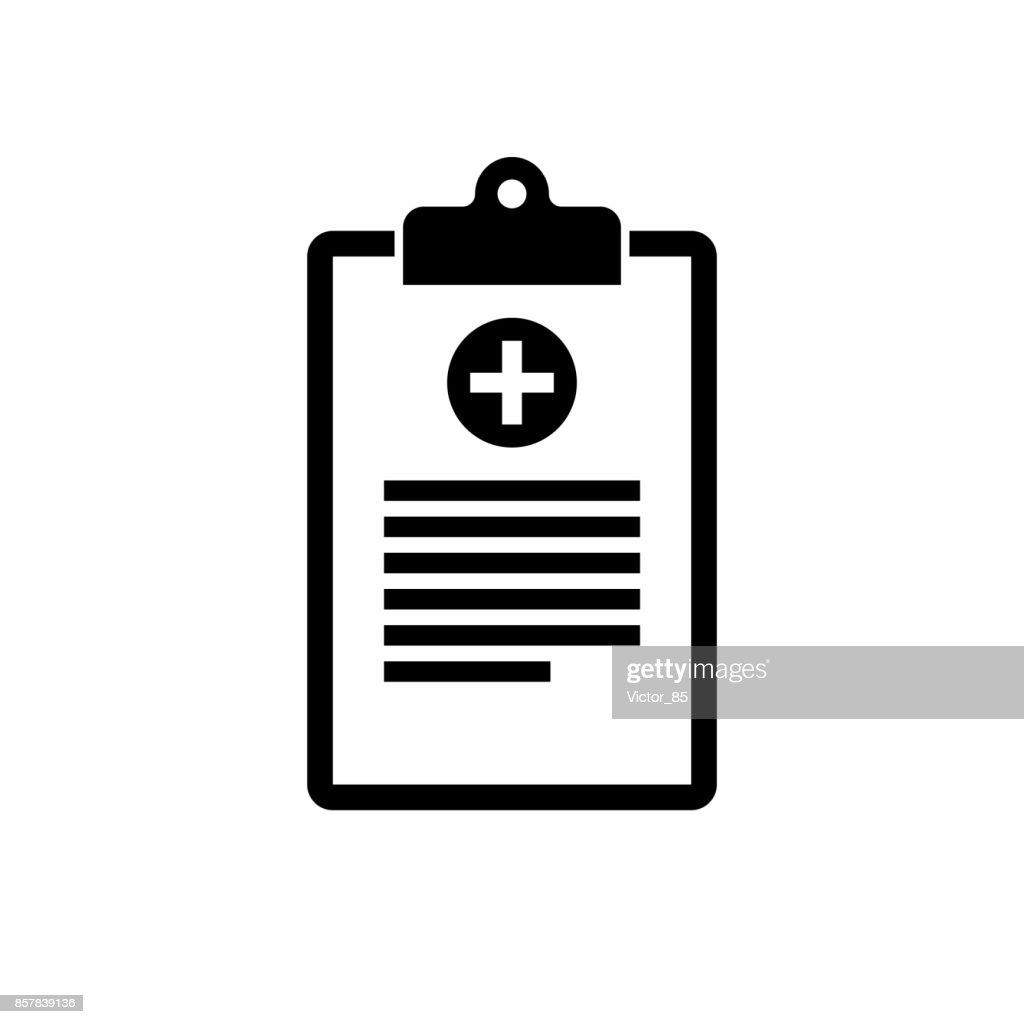 Medical clipboard icon. Black, minimalist icon isolated on white background.