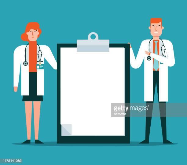 ilustraciones, imágenes clip art, dibujos animados e iconos de stock de portapapeles médico - trabajador sanitario