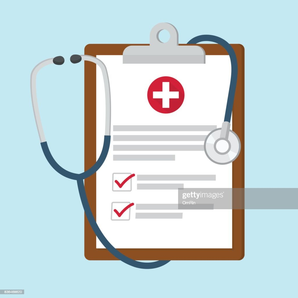Medical clipboard with stethoscope