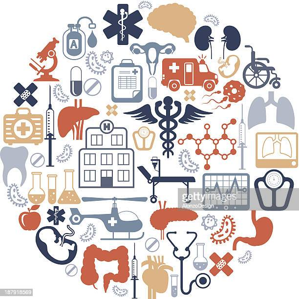 medical collage - medical symbol stock illustrations