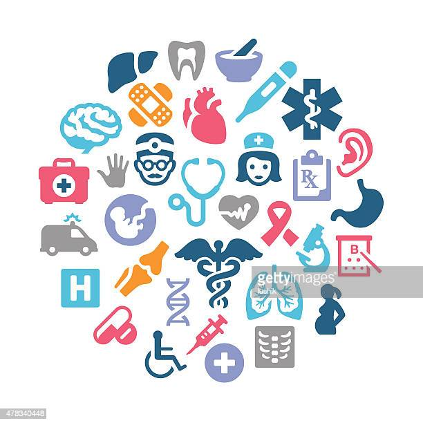 medical collage - medical symbol stock illustrations, clip art, cartoons, & icons