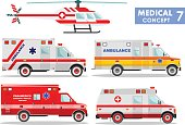 Medical concept. Detailed illustration of ambulance cars and helicopter in flat style on white background. Vector illustration.